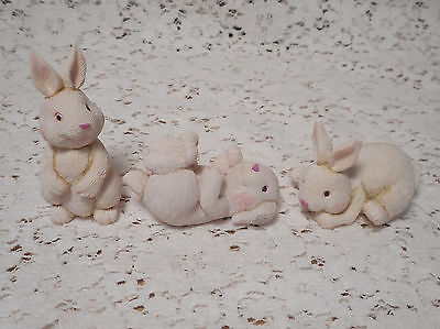 Set of 3 Miniature Mini Playing Bunny Rabbit Figurines