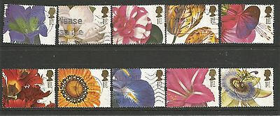 GB 1997 Greeting Stamps - Flower Paintings    set of 10 used
