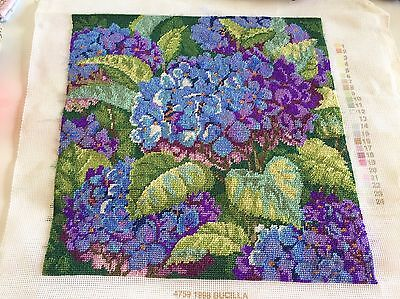 Finished Hydrangea Wool Tapestry Hand stitched DMC Yarn Embroidery