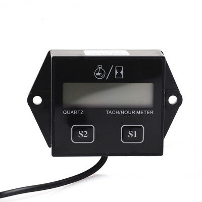 Digital Engine Tach Tachometer Hour Meter Inductive LCD for Motorcycle Motor EC