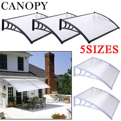 Door Canopy Awning Shelter Front Back Porch Outdoor Shade Patio Roof Black/White