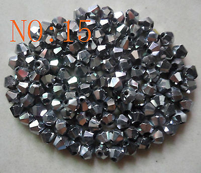 200pcs 4mm 5301# Bicone Faceted Glass Crystal Loose Spacer Beads Silvery White