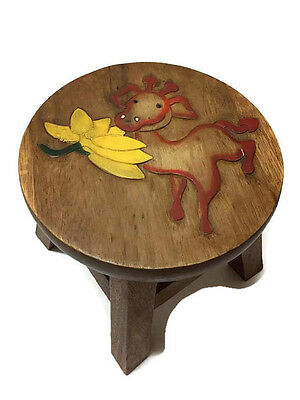 Chair from wood paint Deer Flower Thai Limited  Modern vintage Seat  Handmade