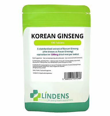 Korean Ginseng Panax 100 Tablets 1300mg Red Boost Sexual Energy Immune Lindens
