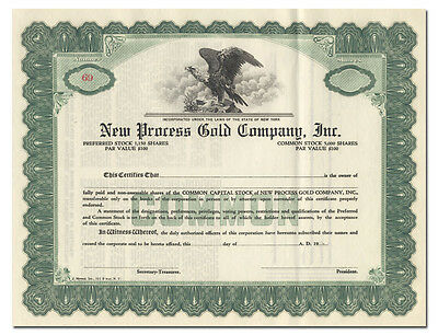 New Process Gold Company, Inc. Stock Certificate