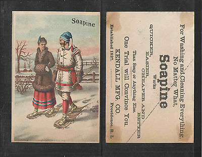 1880s SOAPINE SOAPS MAN and WOMAN SNOWSHOEING VICTORIAN TRADE CARD