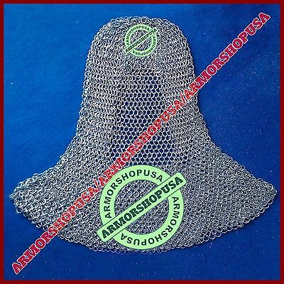 Butted Aluminium Chain Mail Coif - Medieval Chainmail Hood, Larp Movie Costume