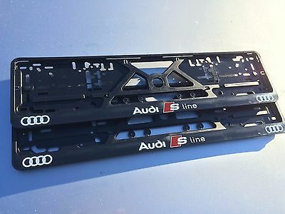 AUDI S-Line number plate surrounds holders frames (pair) A1 A2 A3 A4 A5 A6 A8 Q7