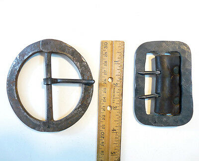2 hand forged? primitive style belt buckles, probably modern reproductions ?