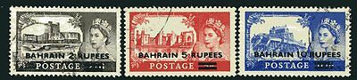 BAHRAIN-1955-60  Castle High Values TYPE II SURCHARGE.  A fine used set Sg 94a-9