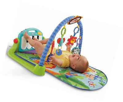 Fisher-Price Kick and Play Piano Gym Baby Activity Playmat Toy in Blue / Green