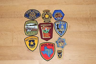 Set of 10 United States Police Patches, USA
