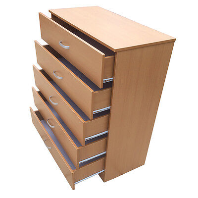 Chest of Drawers 5 Beech **Anti-Bowing Drawer Support** Bedroom Redstone