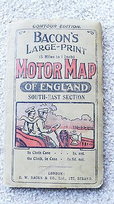 VINTAGE BACONS MOTOR MAP OF ENGLAND South-East section.