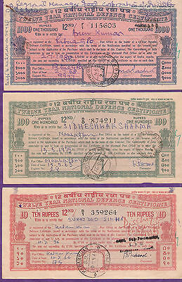 India Twelve Year National Defence Certificate 3 Diff Rupees 1000 100 & 10 # S 3