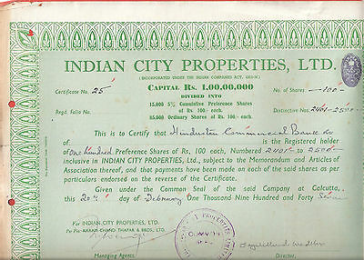 Rare Indian City Properties Limited Shares Certificate