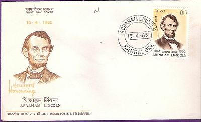 India 1965 Abraham Lincoln Fdc (First Day Cover) Bangalore # F 211