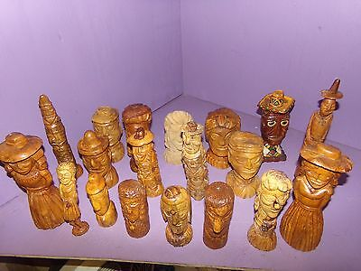 19 wood carvings hand made collectibles home decor tramp art