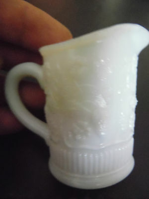 Small White Preseed Glass Jug, Decorated With Strawberries