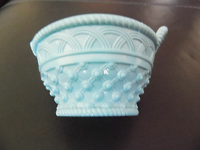 Blue Pressed Glass Dish In The Form Of A Basket