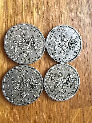 4 1951 George Vi Silver Florin/ Two Shillings (2/-) Coins