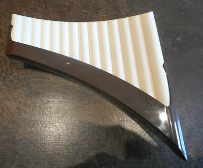 Vintage Aulos curved panflute, 14 holes, carrying case, instructions, G major