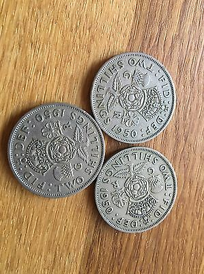 3 1950 George Vi Silver Florin/ Two Shillings (2/-) Coins