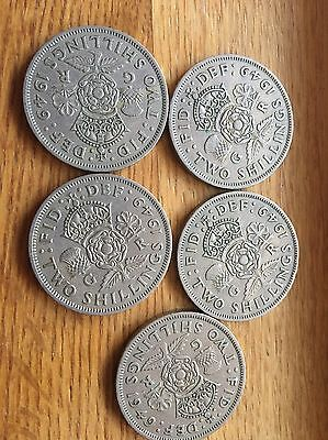 5 1949 George Vi Silver Florin/ Two Shillings (2/-) Coins