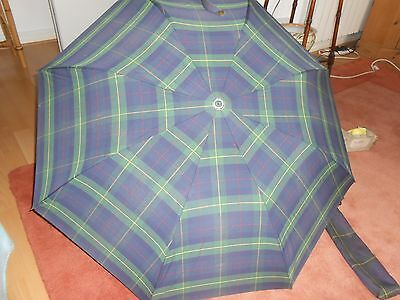 Knirps Vintage Green & Blue Plaid Design Telescopic Umbrella With Fabric Holder