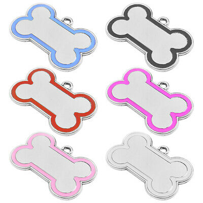 Chrome Metal Bone Engraved Dog Id Name Tag Disc Personalised Pet Identity Tags