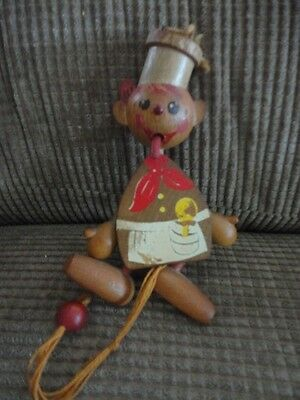 Gregor Pull Cord Toy Chief w long tongue 1969 Wooden VINTAGE