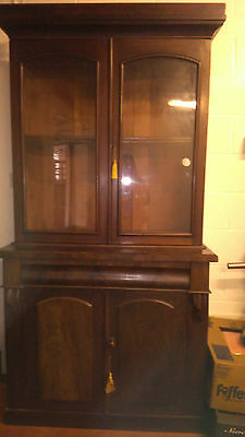 Antique Mahogany Glazed Cupboard Bookcase, Display Cabinet + Drawer