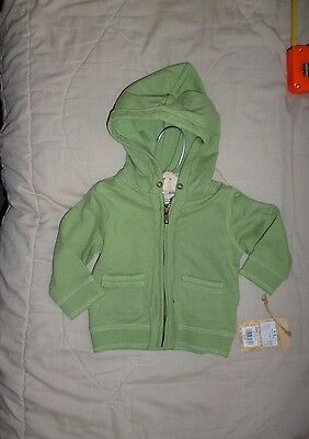NWT toddlers hooded sweatshirt 100% organic cotton Sonoma size 3-6 m light green