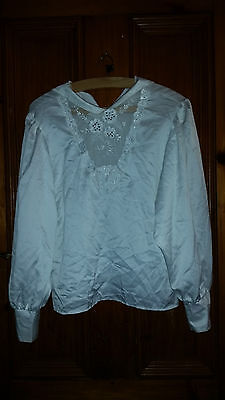 True Vintage Retro Ladies White Silky Type Blouse With Sequins 36 Chest