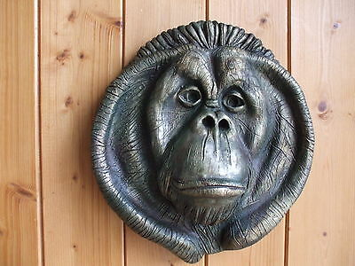 Big Bronzed Stone Ape Orangutan Monkey Wall Sculpture