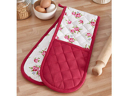 Vintage Rose Double Oven Glove Cook Kitchen Mitt Baking Cooking BBQ Barbecue
