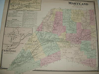 Antique 1868 New York Otsego County Map Town Of Maryland & Chaseville