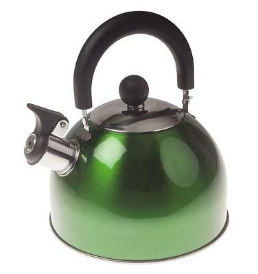 Kingavon 2.5 Litre Stainless Steel Whistling Kettle Red Camping Caravan JX10