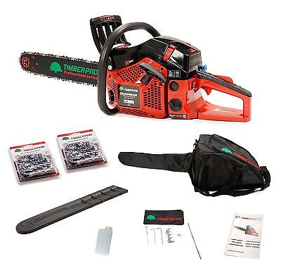 "TIMBERPRO Professional Series 62cc 20"" Petrol Chainsaw Kit with 2 20"" saw chains"