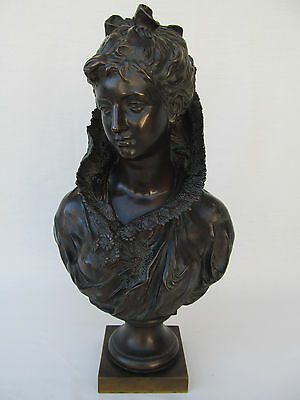 Antique Bronze Victorian Bust signed Mathurin Moreau hors Concours circa 1800s