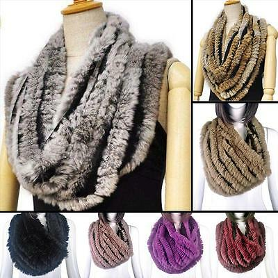 Women's Real Farm Rex Rabbit Fur Hand Knitted Circle Brown Scarf Scarves Wrap