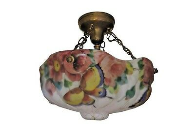 Rare PAIRPOINT PUFFY Glass Hanging Lamp - with BUTTERFLIES and ROSES.