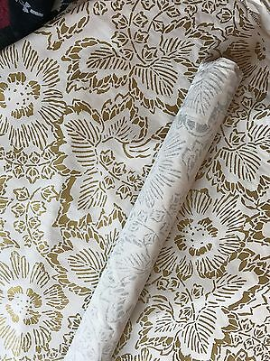 OSHIKA PRINT GOLD LEE JOFA GROUNDWORKS 9 Yards WEARSTLER OBRIEN HICKS FABRIC