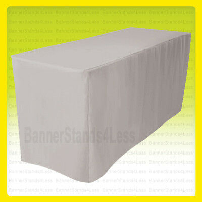"""4' Fitted Polyester Table Cover Wedding Banquet Tablecloth 24"""" Width - Grey"""