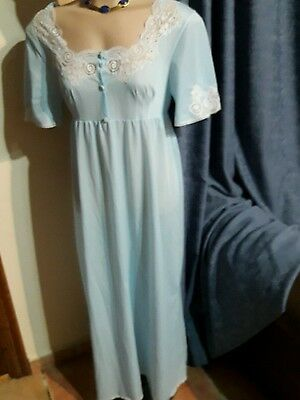 Vintage French Pretty Blue Nylon Nighty With Lace