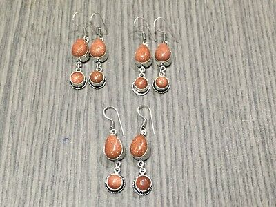WHOLESALE LOT 3 pcs RED SUN STONE.925 SILVER OVERLAY DESIGNER EARRING 30 GMS