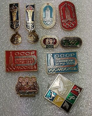 10 badges Vintage Soviet Union Pin Badge 1980 MOSCOW OLYMPIC GAMES XXII