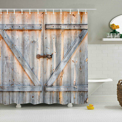 Vintage Rustic Barn Shed Wood Door Bathroom Bath Shower Curtain Decor 180X180cm