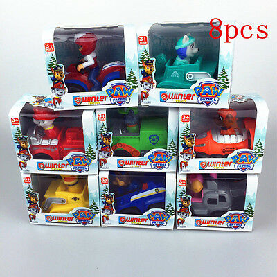8pcs PAW PATROL COMPLETE RESCUE RACERS CHASE RUBBLE MARSHALL RYDER ZUMA & SKYE