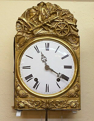 Antique French Morbier Comtoise Brass Repeater Clock Horse WORKS c1840 w/KEY